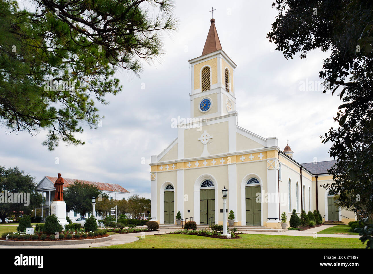 Saint Martin of Tours Roman Catholic Church in the historic old town of St Martinville, Cajun country, Lousiana, - Stock Image