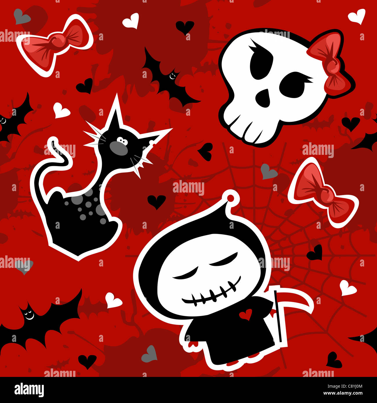 funny halloween characters seamless pattern background vector stock