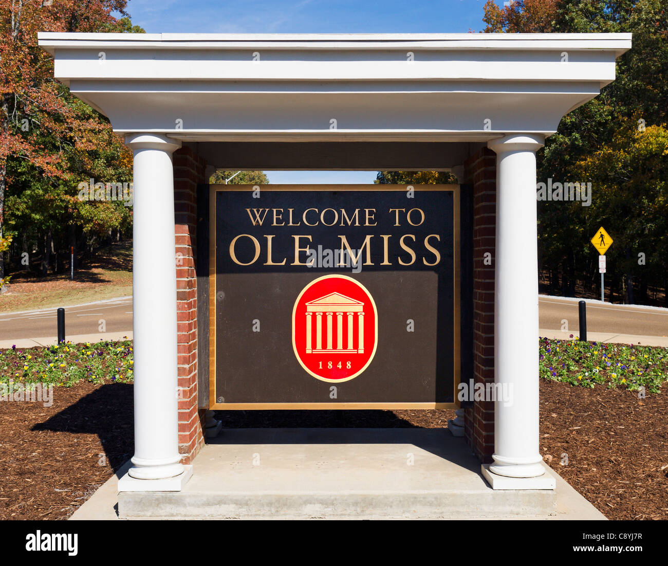 Entrance to the University of Mississippi (Ole Miss), Oxford, Mississippi, USA - Stock Image