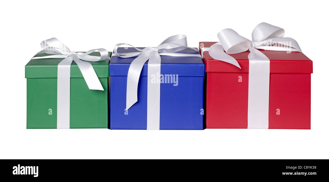 3 gift boxes red green blue - Stock Image