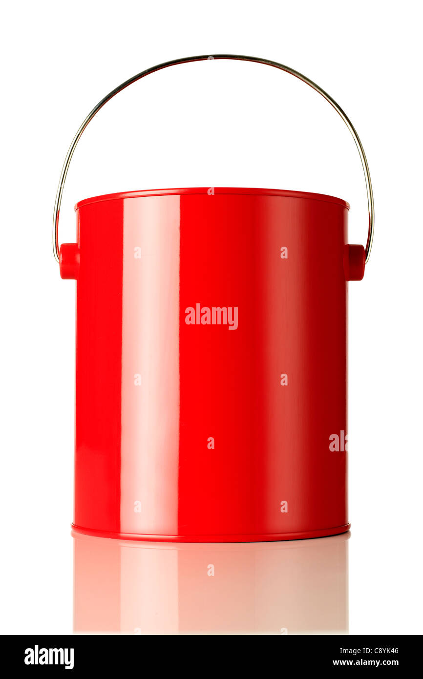 Red paint can - Stock Image