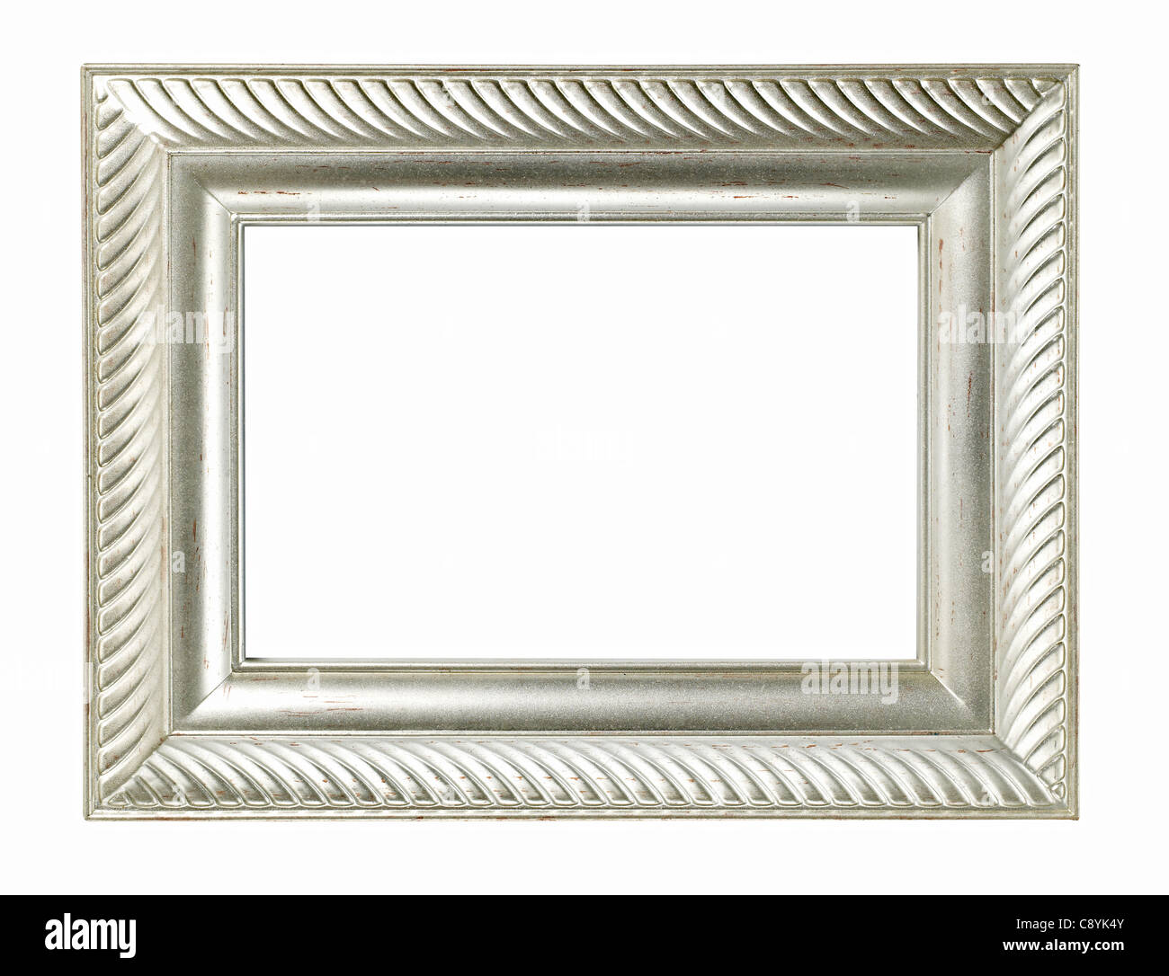 Silver metal finish Picture frame - Stock Image