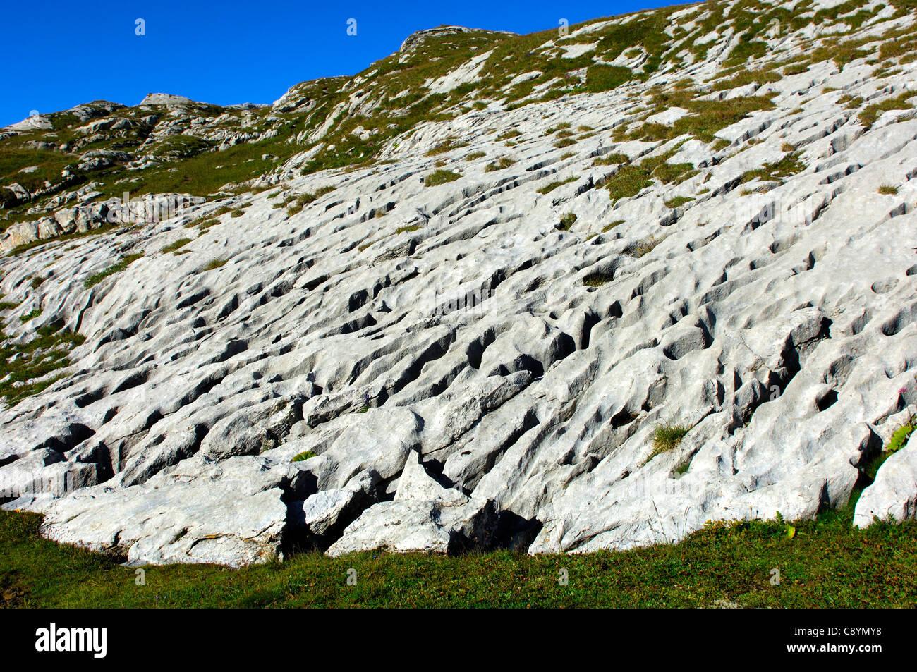 Runoff lapies, karst landscape Lapis de Tsanfleuron, pass Santesch-Pass, Valais, Switzerland - Stock Image