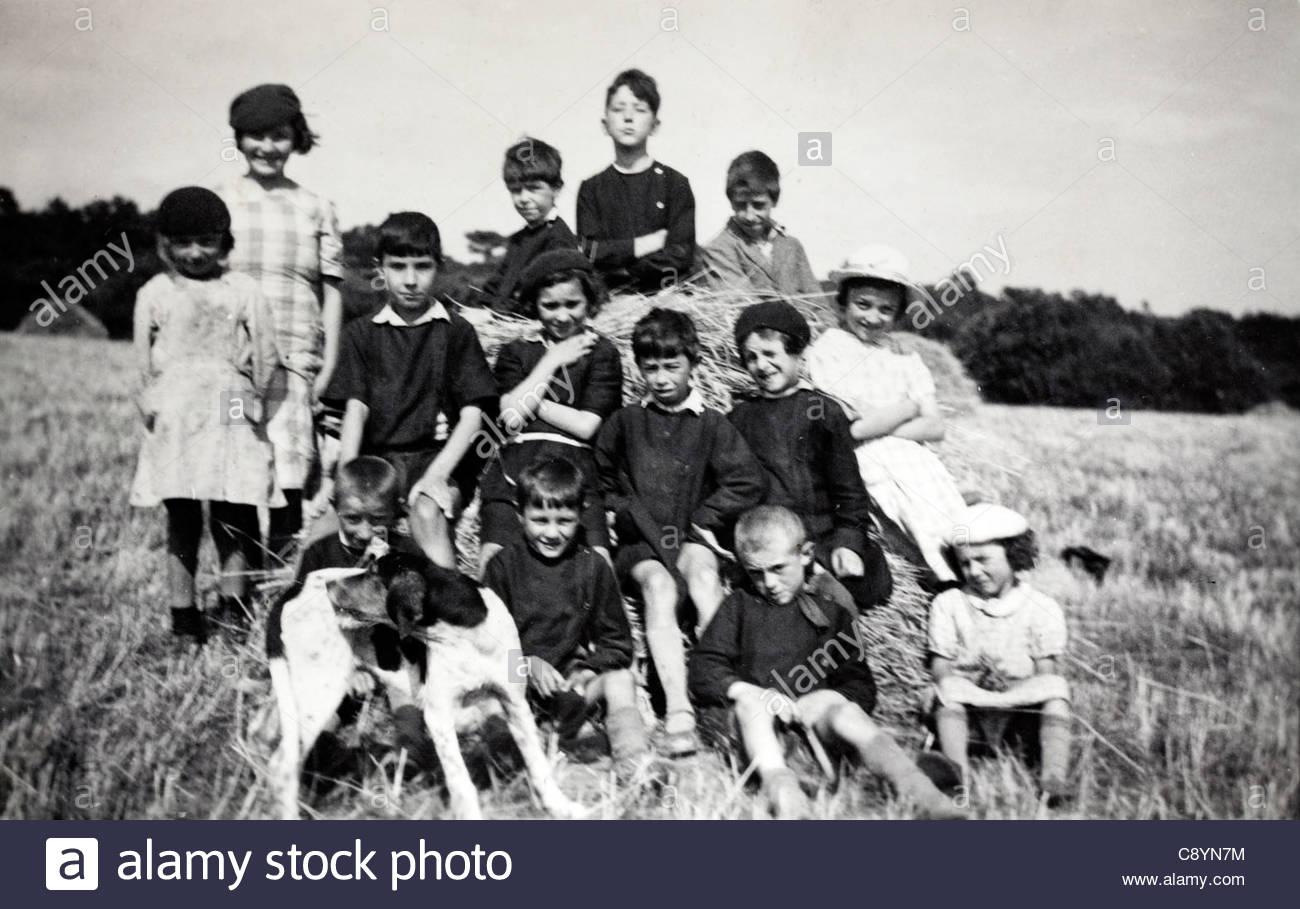 group portrait of children rural France - Stock Image