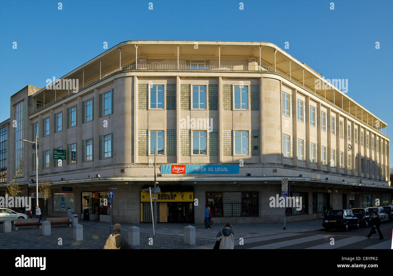 North west corner of former department store that adjoins 3 Plymouth streets - Stock Image