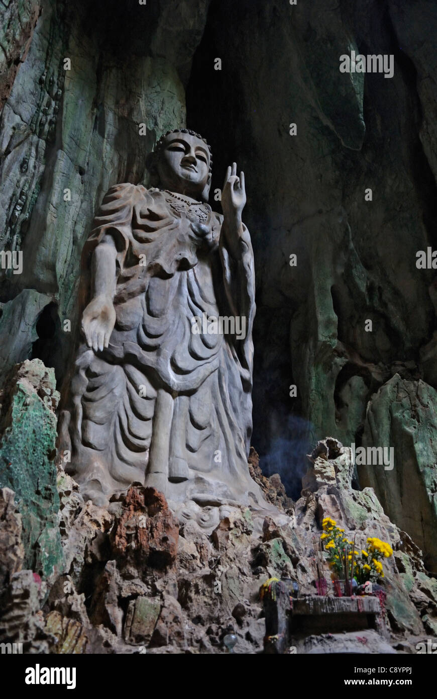 Asia, Vietnam, near Da Nang. In the sanctuary of Dong Tang Chon or Tang Chon cave within the famous buddhist sanctuaries - Stock Image