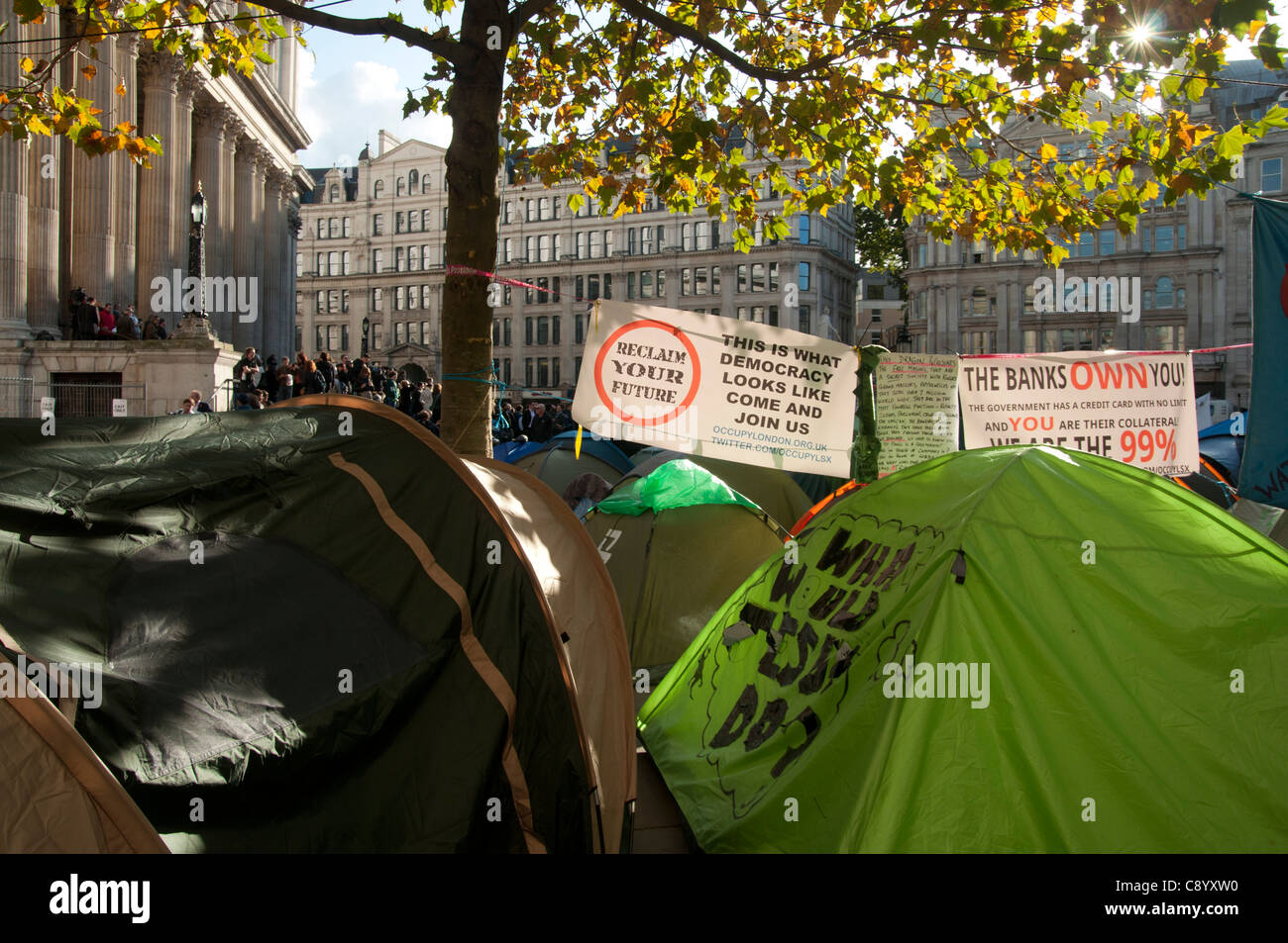 Anti capitalist Demonstration at St Paul's Cathedral London England - Stock Image