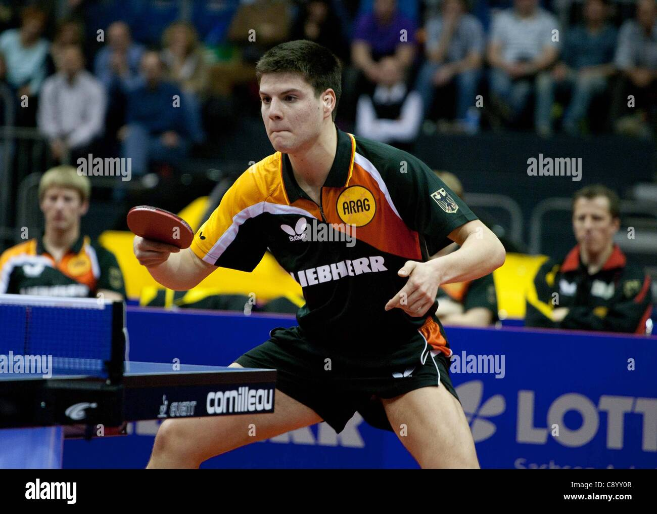 05 11 2011 Magdeburg, Germany. Dimitrij Ovtcharov ger Semi-finals Germany vs China Table Tennis   World team Cup - Stock Image