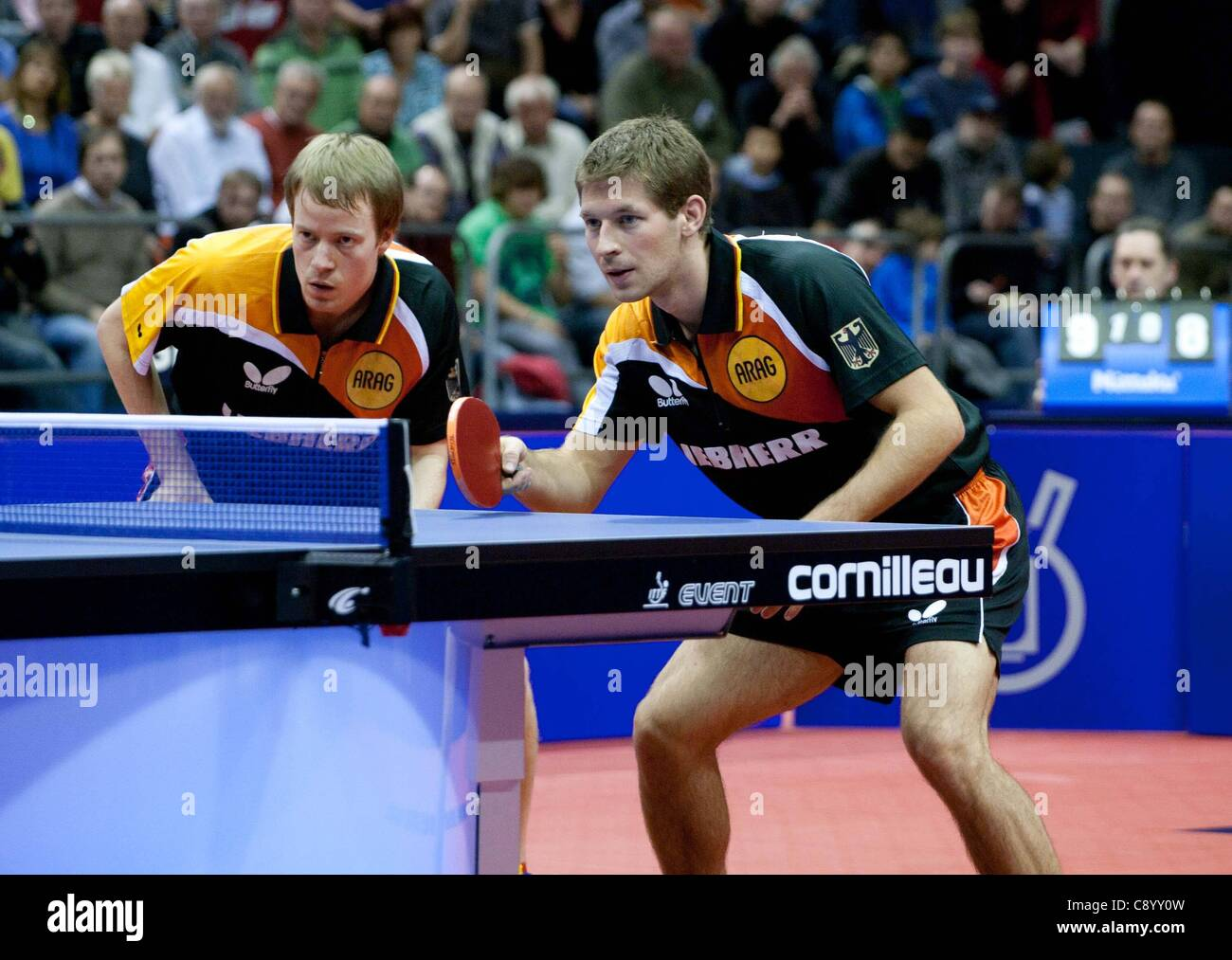 05 11 2011 Magdeburg, Germany. Double Bastian Steger right and Patrick Tree ger Semi-finals Germany vs China Table - Stock Image