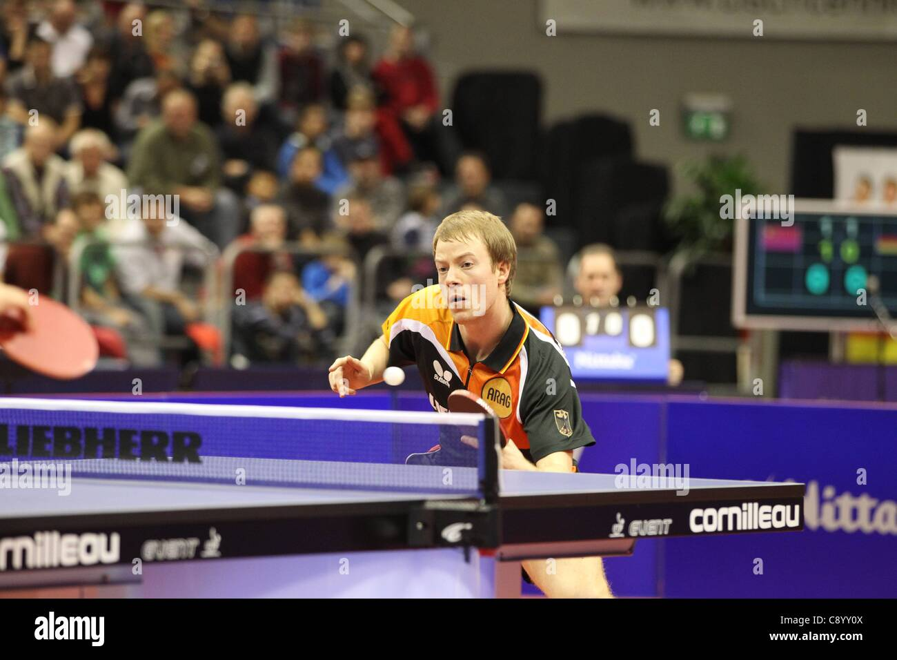 05 11 2011 Magdeburg, Germany.  Patrick Tree Germany. Germany vs China Table Tennis   World team Cup 2011 in the - Stock Image