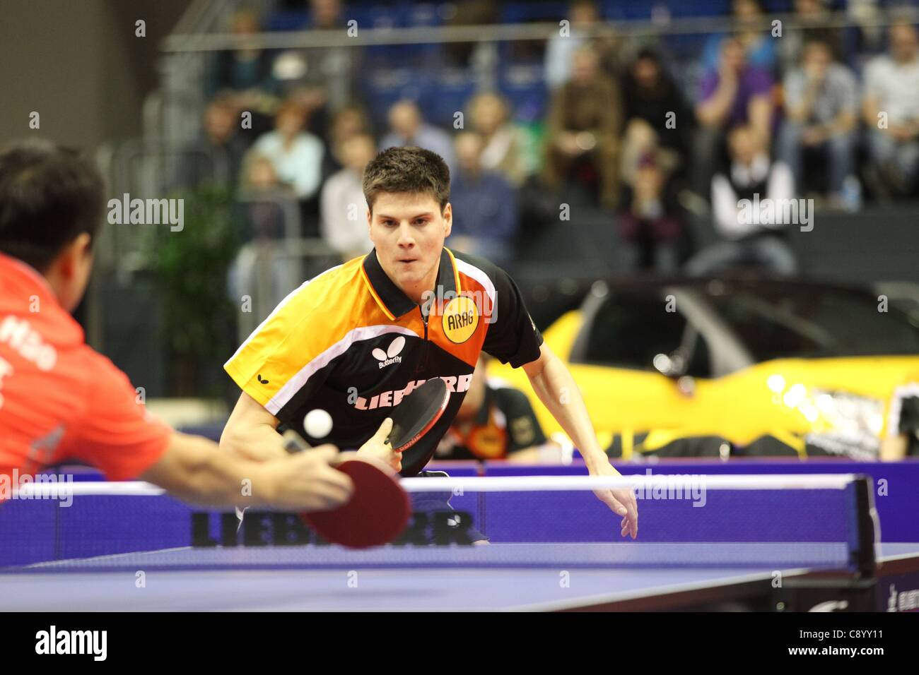05 11 2011 Magdeburg, Germany. Dimitrij Ovtcharov Germany. Germany vs China Table Tennis   World team Cup 2011 in - Stock Image