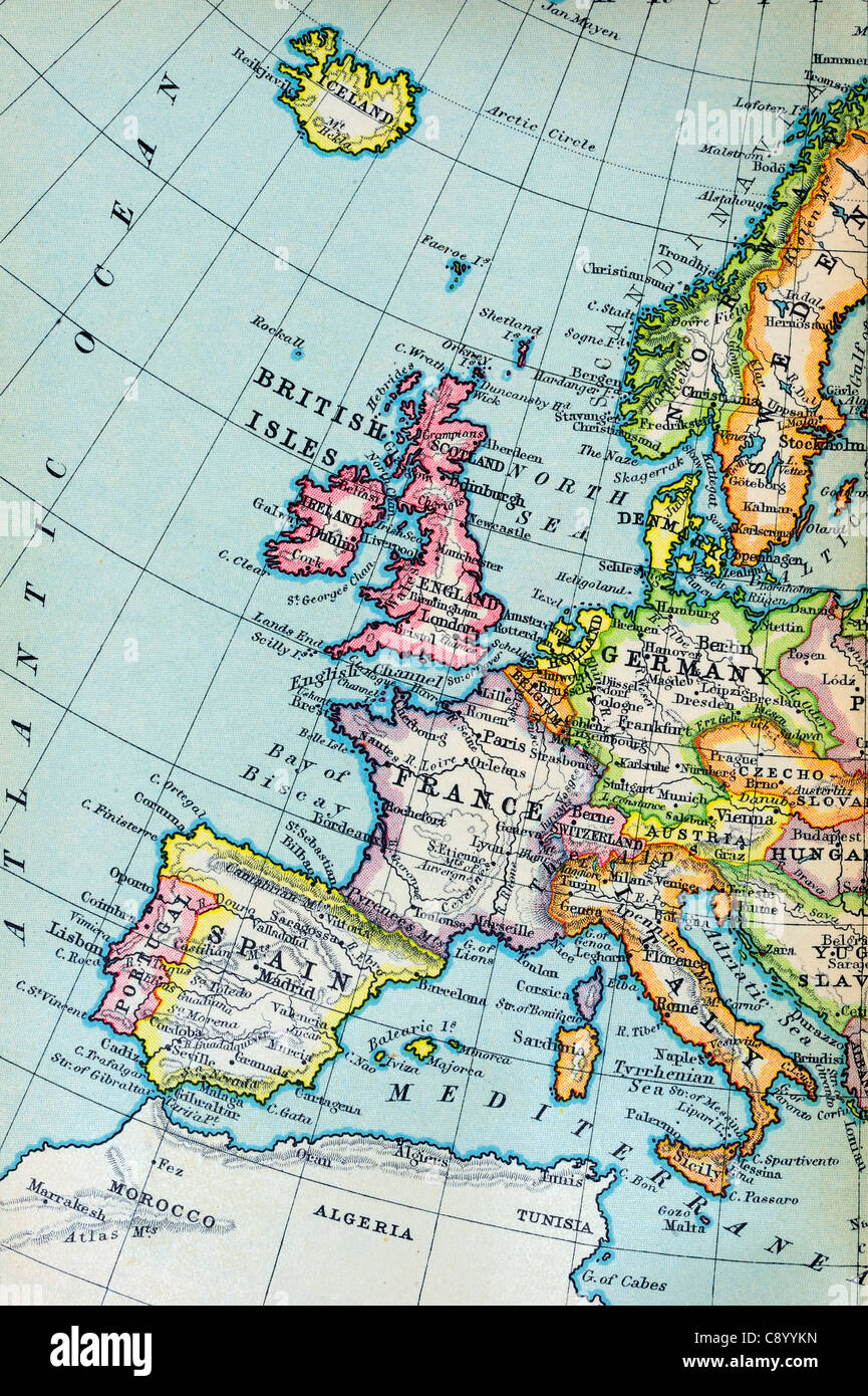Antique map of iceland stock photos antique map of iceland stock macro of an old atlas map about 100 years old of western europe gumiabroncs Images