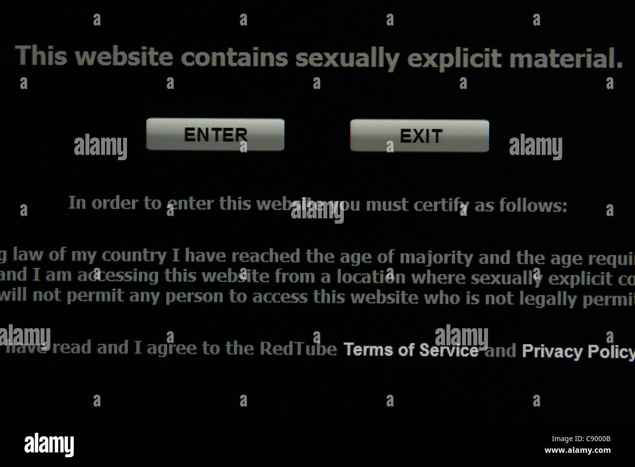 adult porn website warning