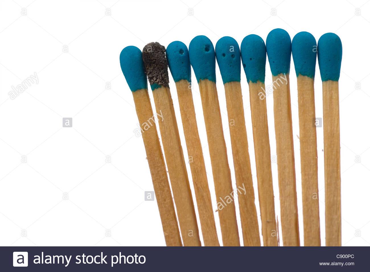 Close up shot of matches isolated on white - Stock Image