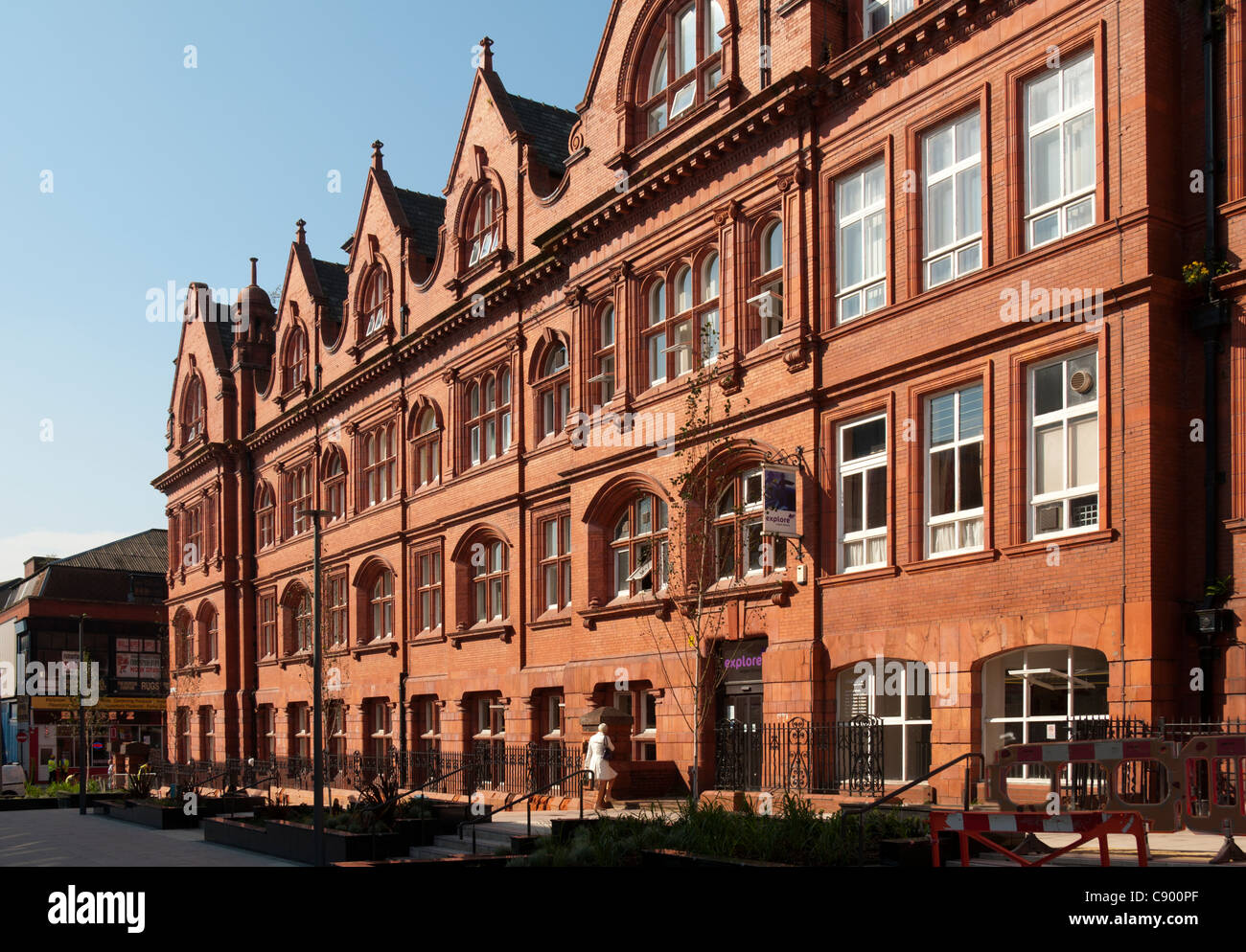 Wigan Public Library.  Alfred Waterhouse, 1878. Now houses the Museum of Wigan Life.  Wigan, Greater Manchester, - Stock Image