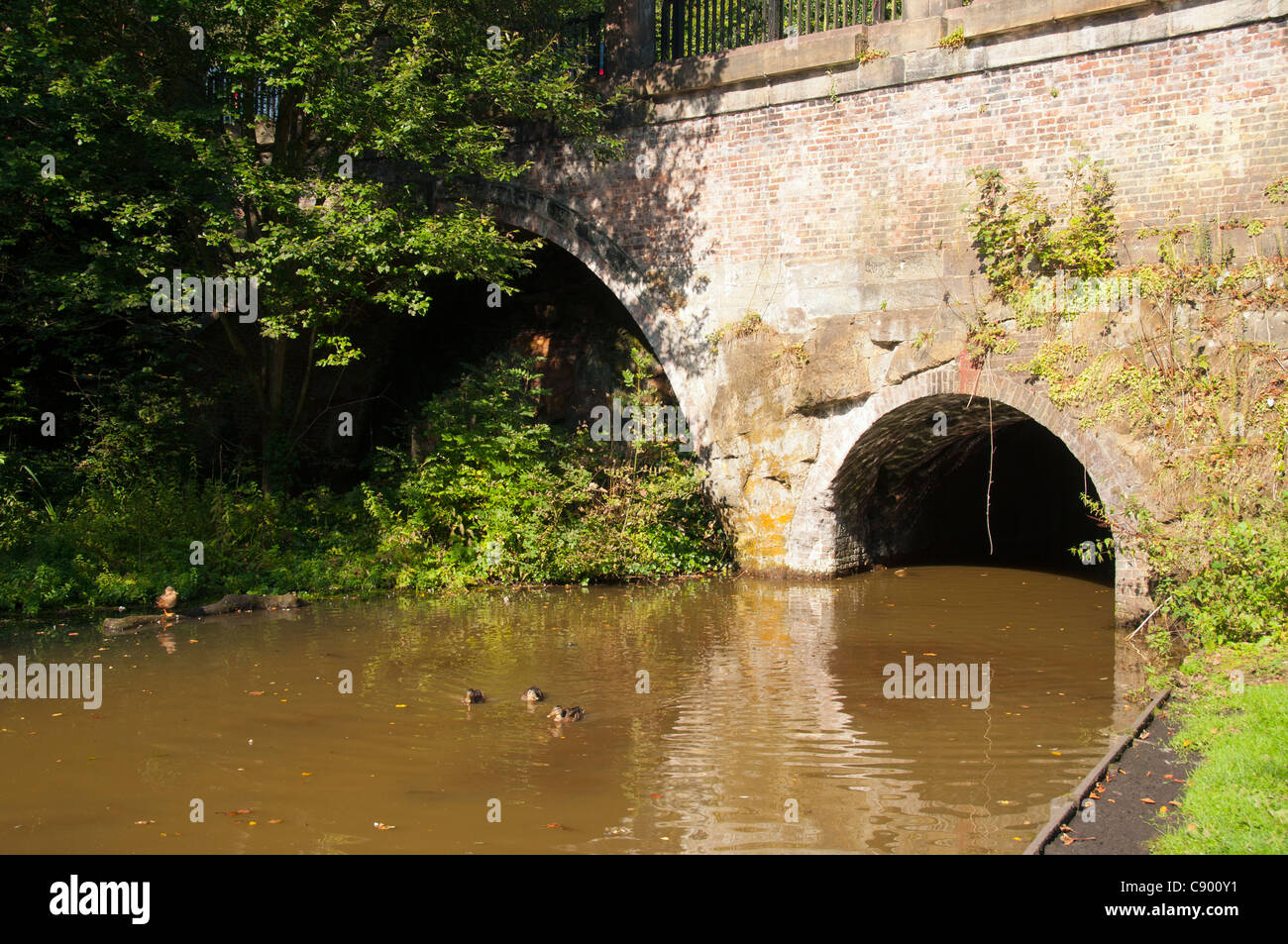 The entrance to the Duke of Bridgewater's coal mines at Worsley Delph, Salford, Manchester, England, UK Stock Photo