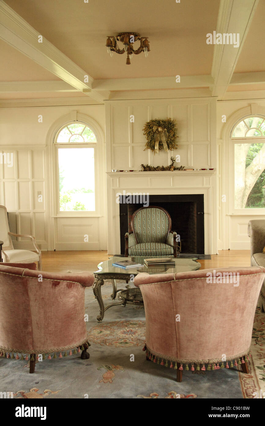 living room remodeled hardwood chairs fireplace Stock Photo