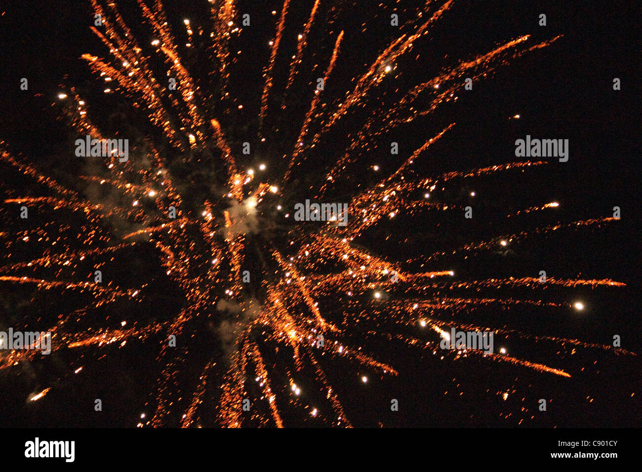 fire works in action on July 4th - Stock Image