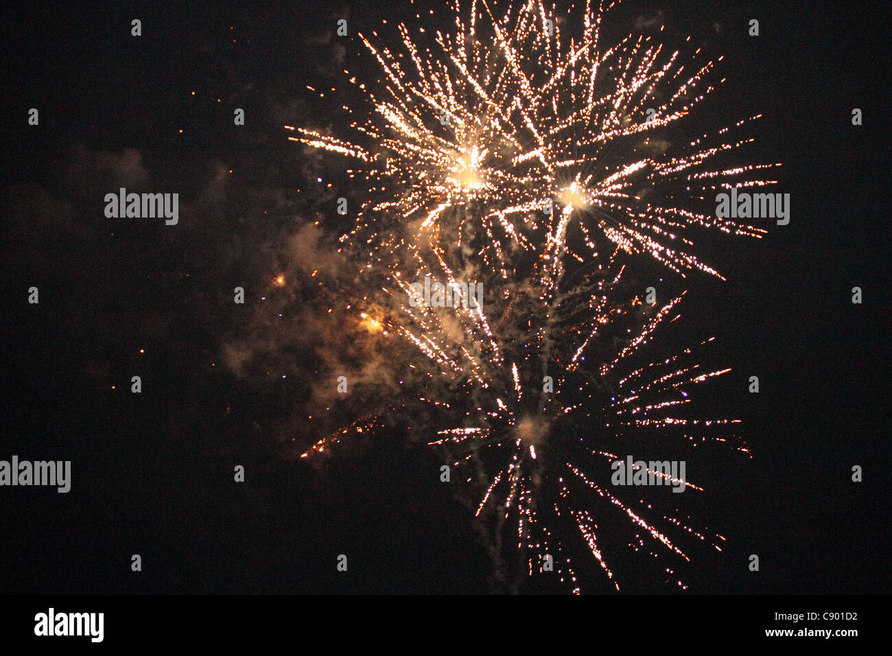 fire works at night July 4th - Stock Image