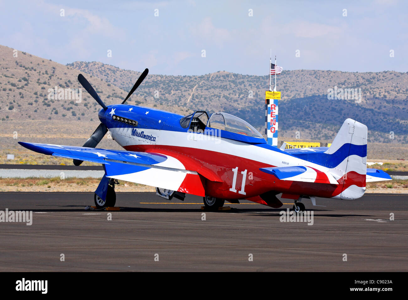 Brent Hisey's P-51D Mustang 'Miss America' sits on the tarmac during the 2011 Reno National championship - Stock Image