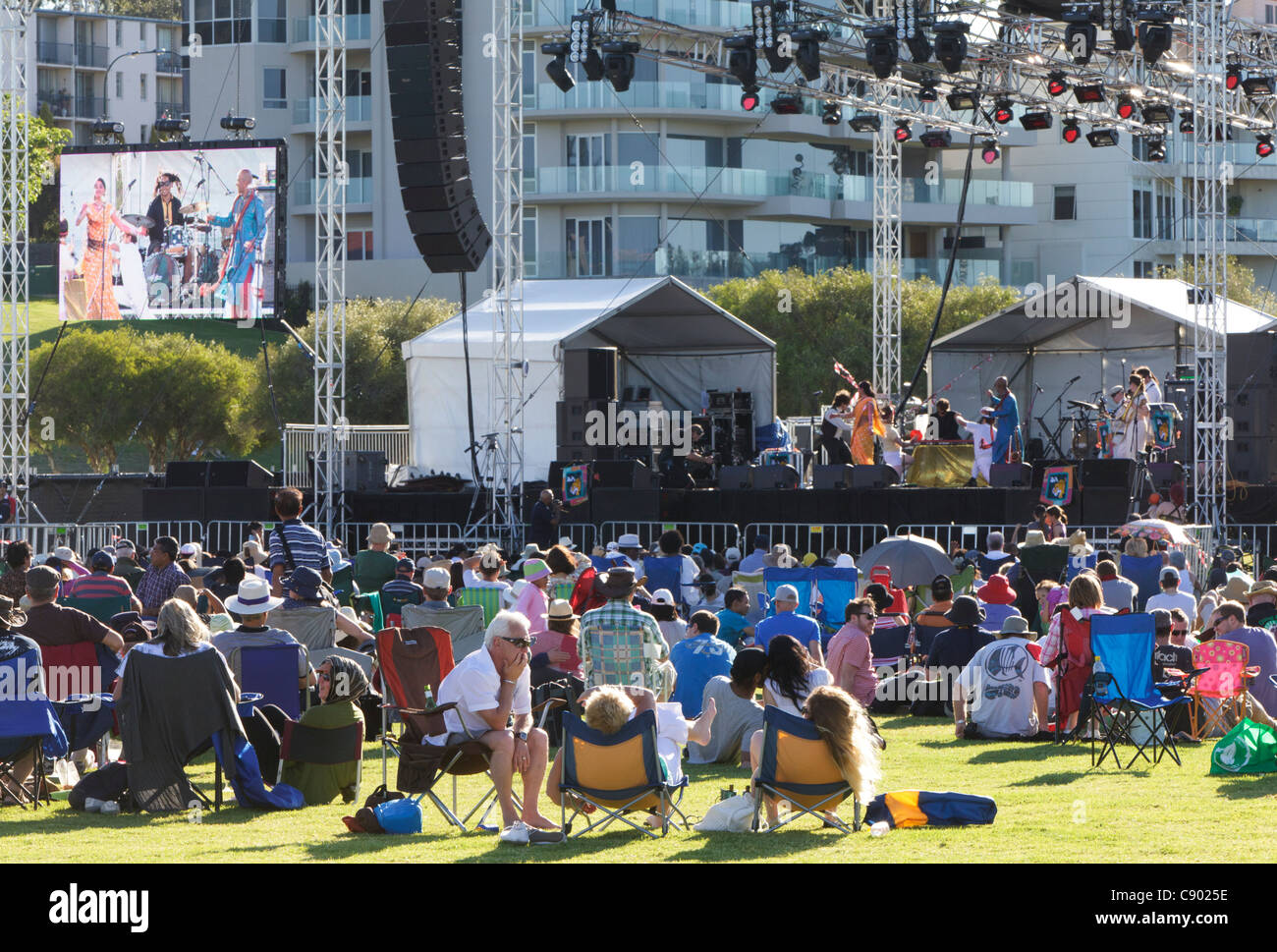 The Bombay Royale band play at the CHOGM 2011 Commonwealth Festival Finale Concert in South Perth, Western Australia - Stock Image