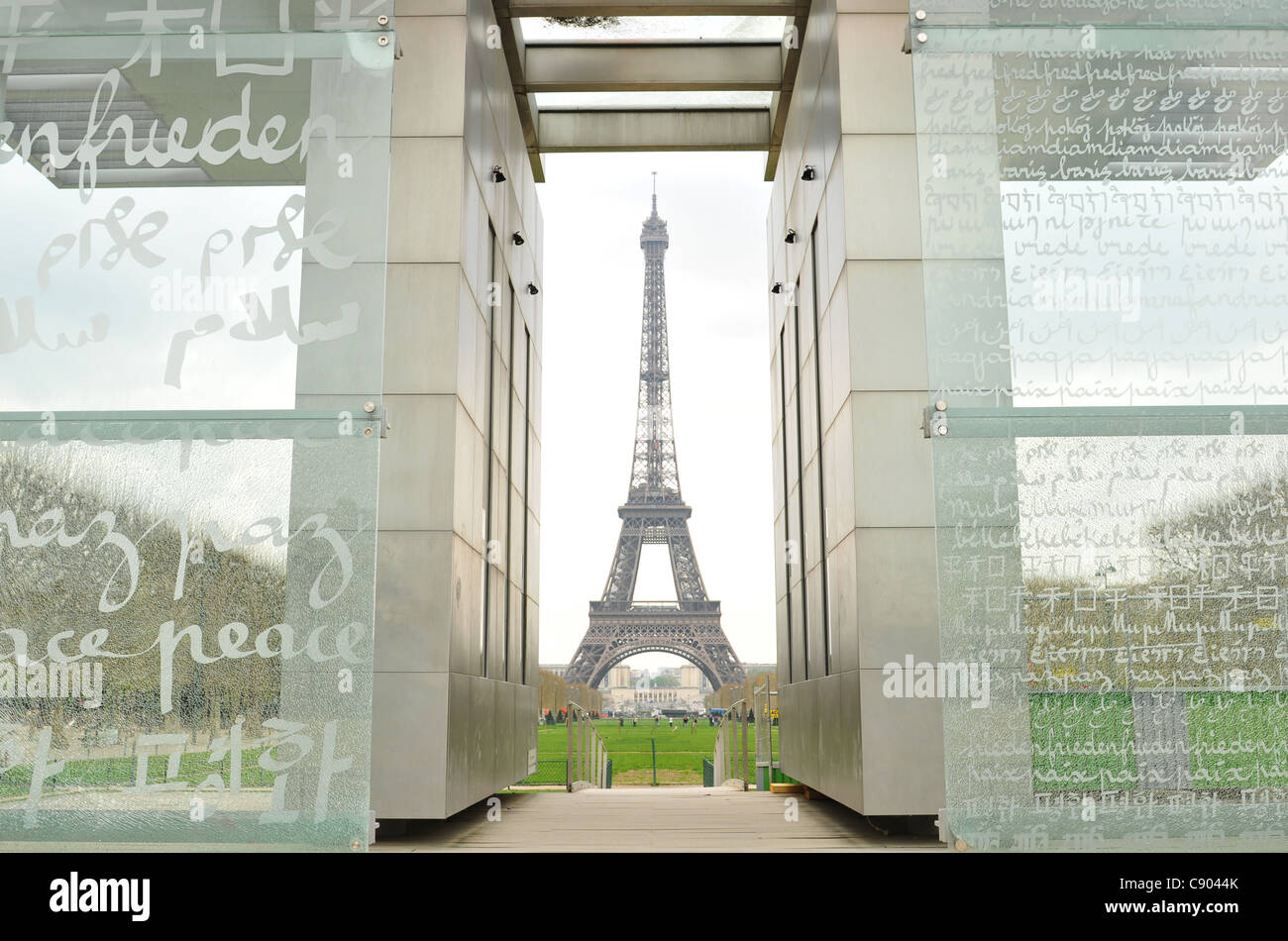 Eiffel Tower and Peace Monument - Stock Image