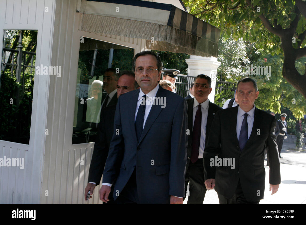 6 November 2011 Athens Greece. Conservative opposition leader Antonis Samaras exists Presidential house after meeting - Stock Image