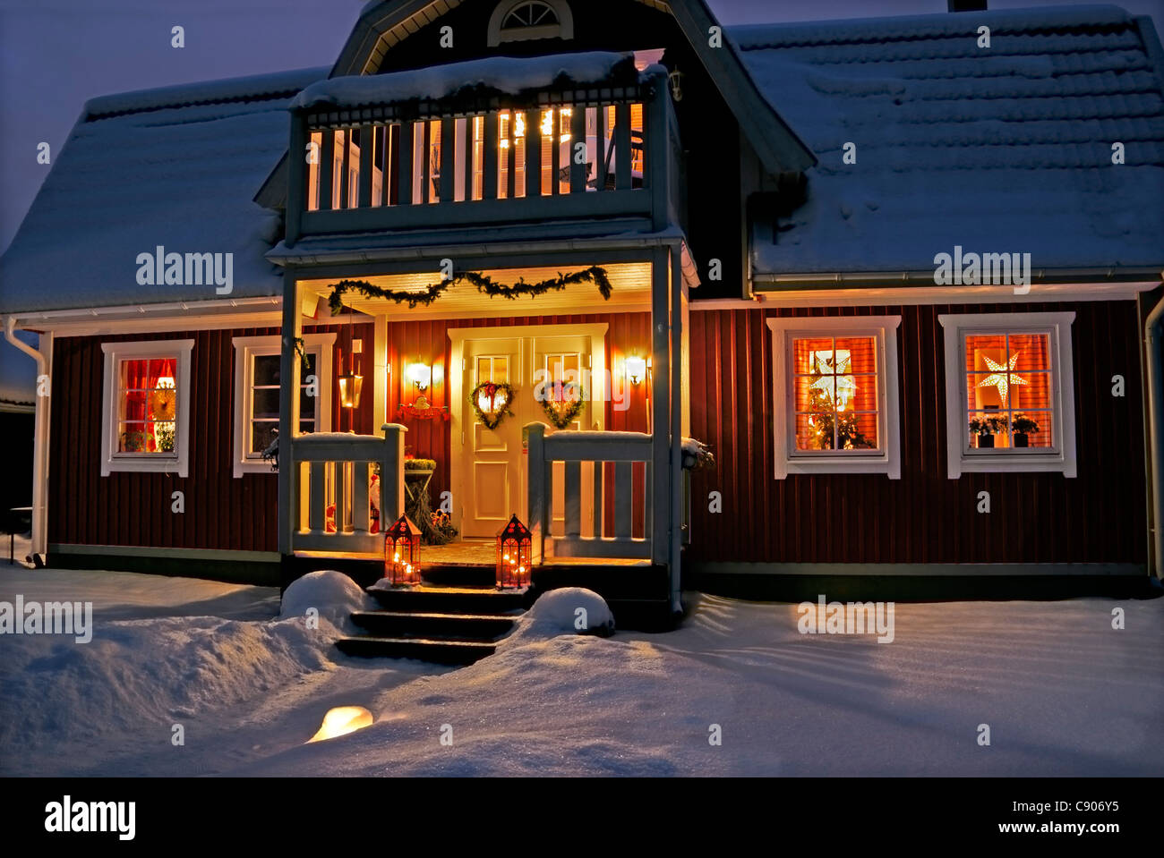 Christmas Decorated Swedish House With Front Porch At