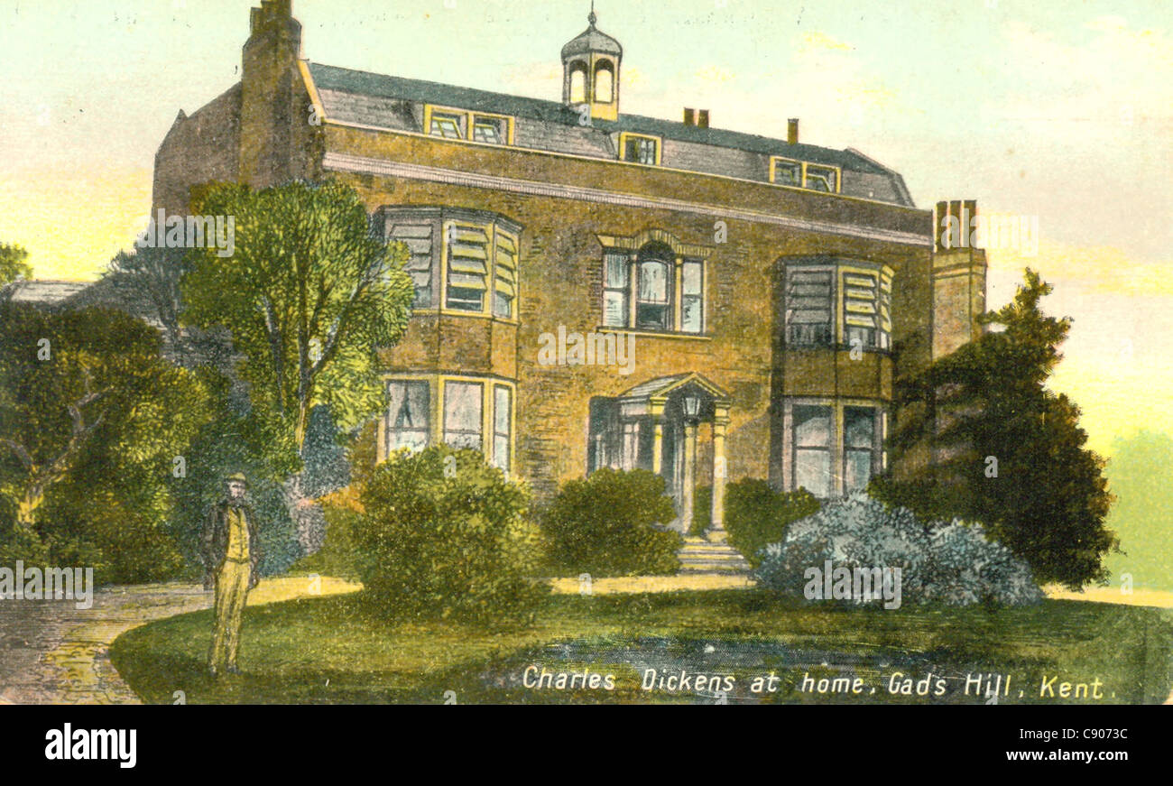 Postcard of Charles Dickens' home, Gad's Hill, Kent, - Stock Image
