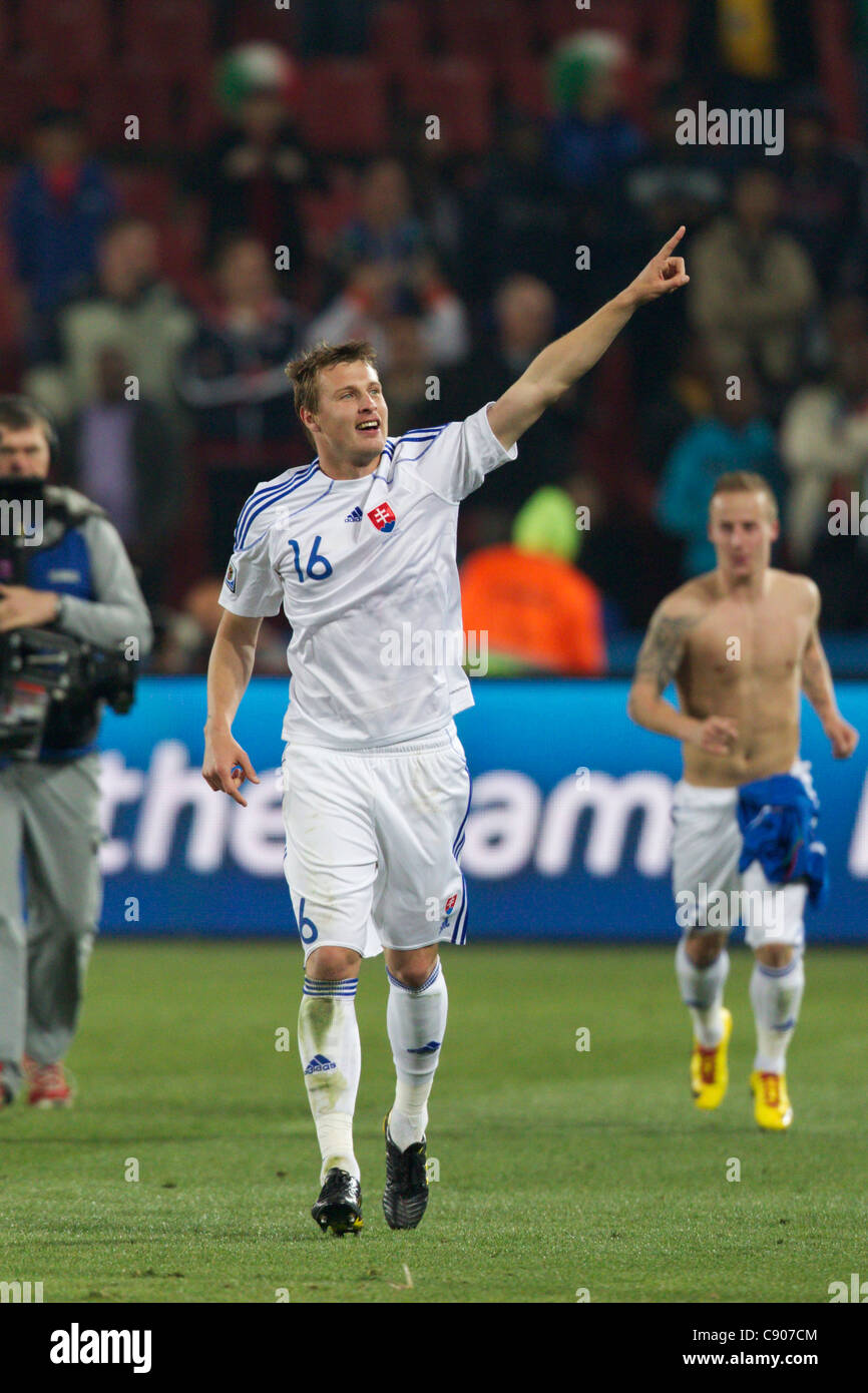 Jan Durica of Slovakia acknowledges supporters after Slovakia defeated Italy in a 2010 FIFA World Cup Group F match. - Stock Image