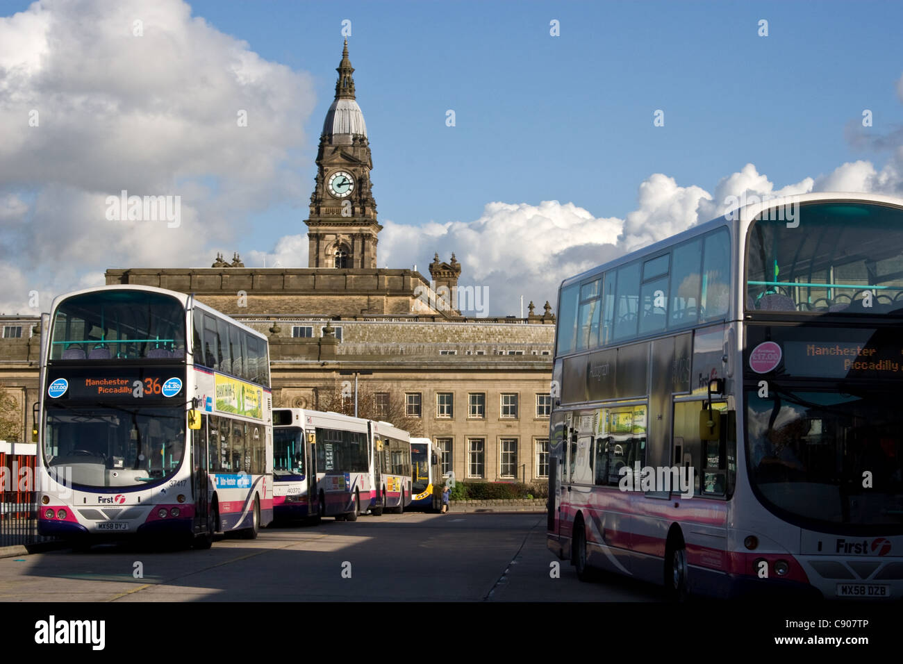 Bus Station and Town Hall beyond, Bolton, Greater Manchester, England, UK - Stock Image