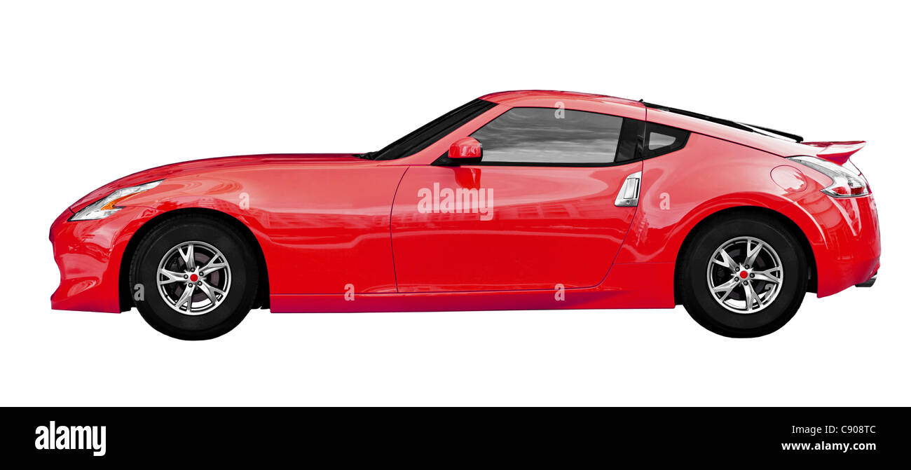 Red car - Fantasy sport coupe isolated on white background - Stock Image