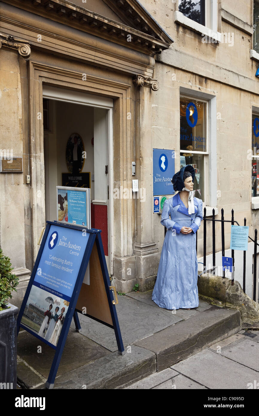 Bath, Somerset, England, UK, Britain. The Jane Austen Centre with lifelike figure in period costume outside - Stock Image