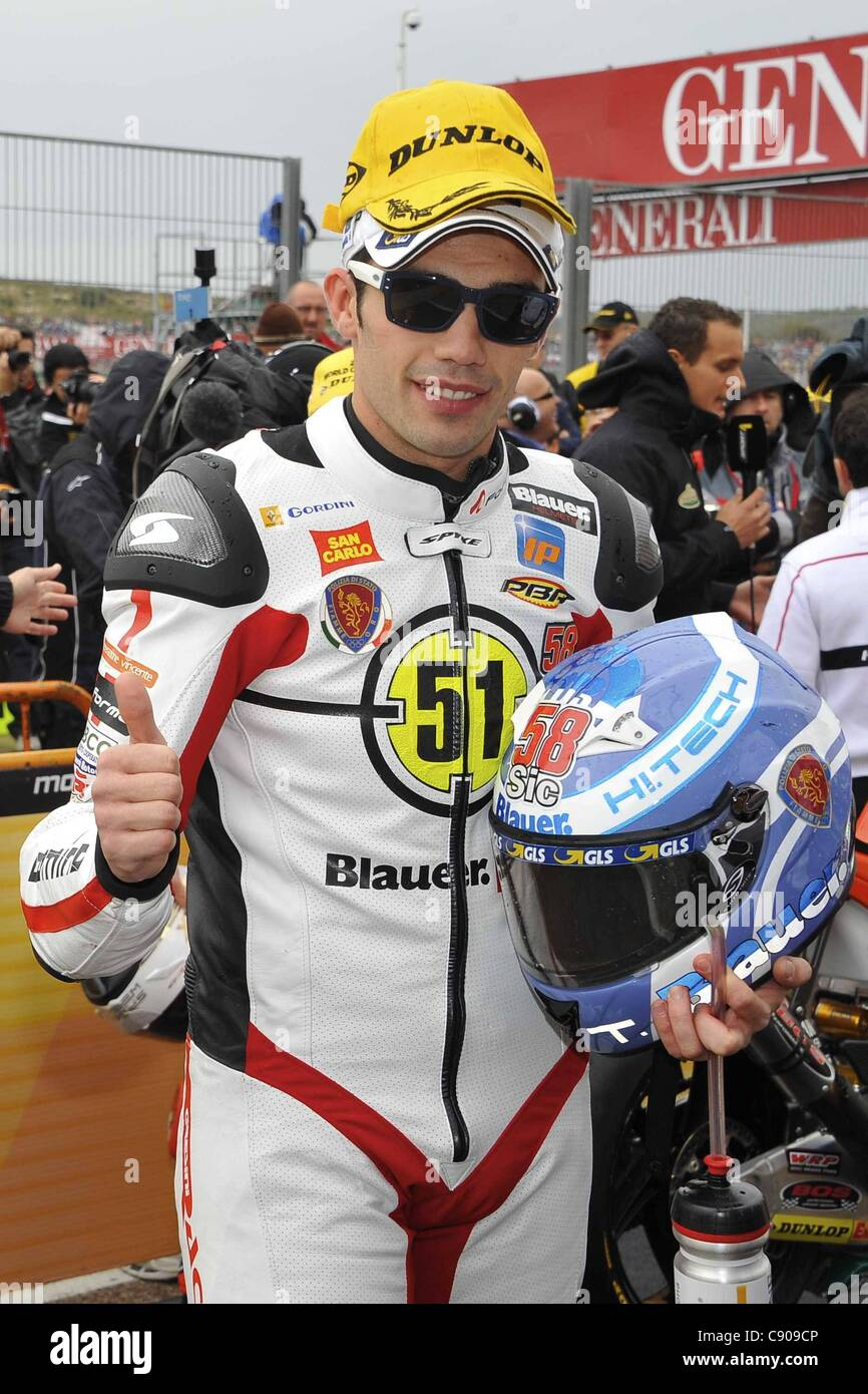 06.11.2011. Valencia, Spain.  Classe Moto2  Photo Michele Pirro before the start of the race - Stock Image