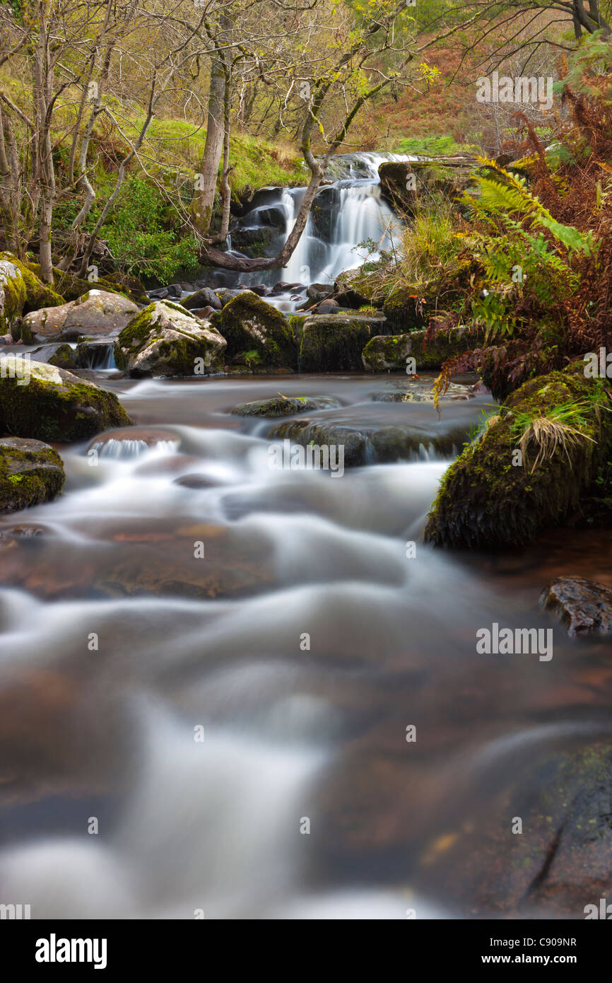 Waterfalls on River Caerfanell, Brecon Beacons National Park, South Wales, UK, Europe - Stock Image