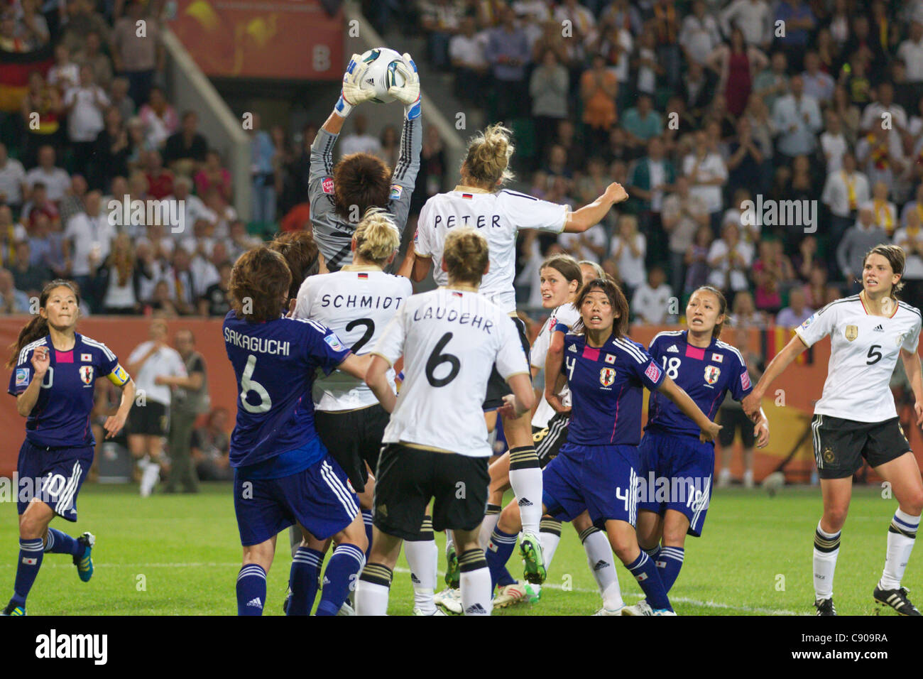Goalkeeper Ayumi Kaihori of Japan leaps to make a save against Germany during a 2011 FIFA Women's World Cup - Stock Image
