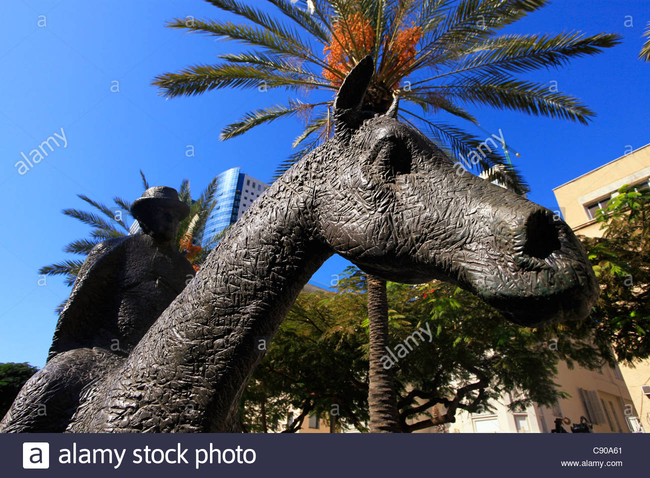 Equestrian Statue of Meir Dizengoff  who was a Zionist politician and the first mayor of Tel Aviv riding his horse, - Stock Image