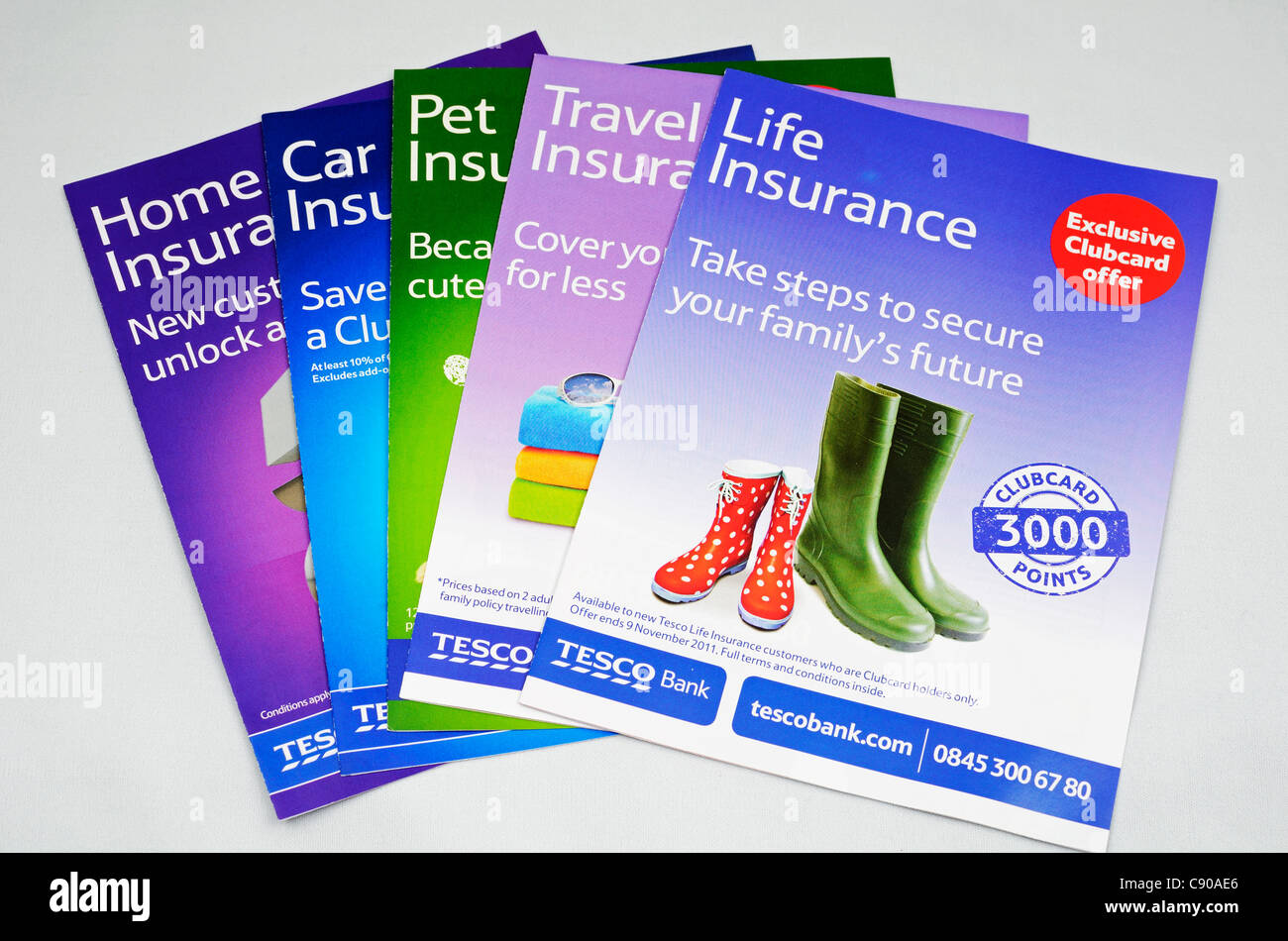 Tesco insurance leaflets - Stock Image