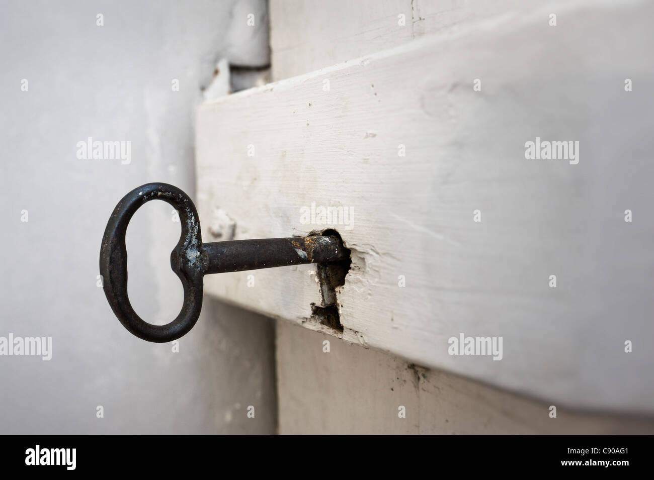 Old key in door lock Stock Photo 39960929 Alamy