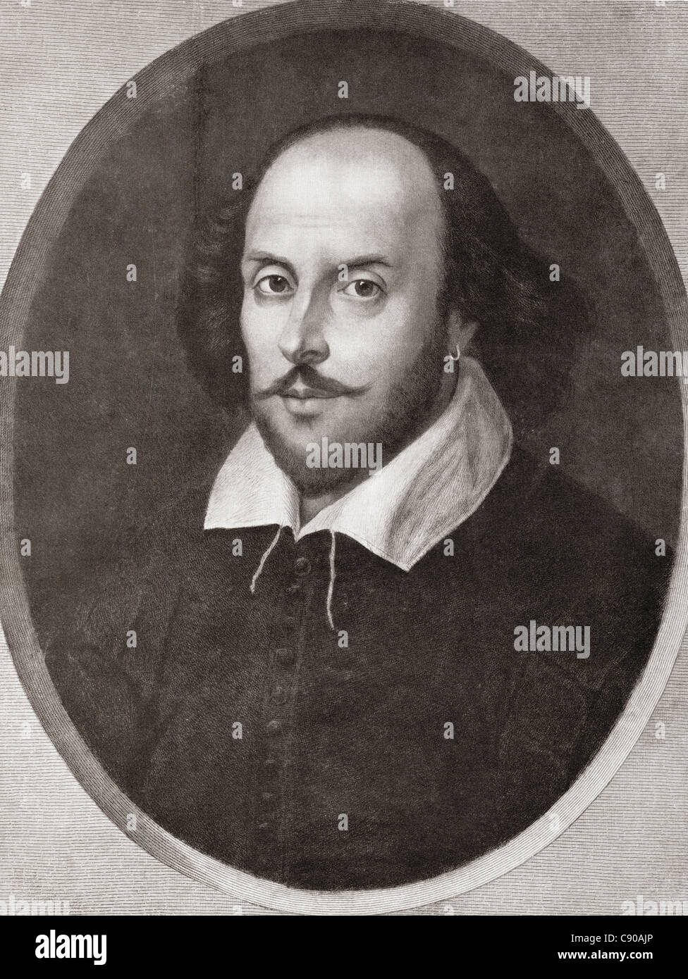 William Shakespeare, 1564 - 1616. English poet and playwright. From Bibby's Annual published 1910. Stock Photo