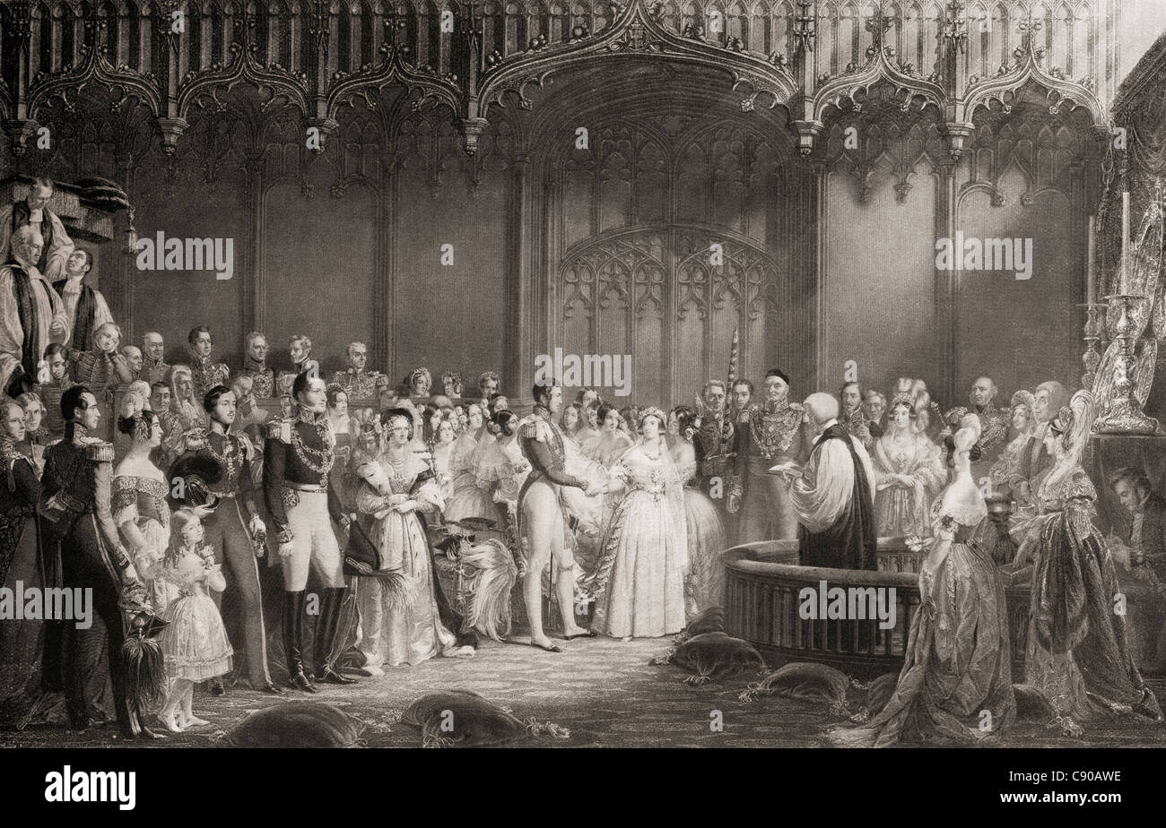The Marriage of Queen Victoria and Prince Albert, 1840. - Stock Image