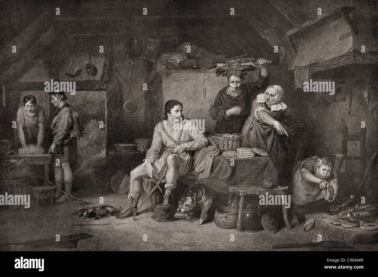 King Alfred in the Neatherd's Cottage. Alfred the Great, c.848 – 899. King of Wessex - Stock Image