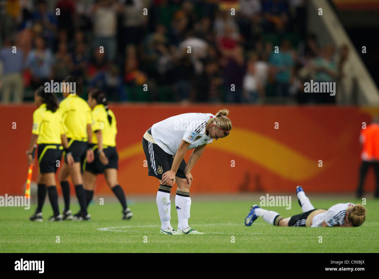 Alexandra Popp of Germany rests her hands on her knees after Germany was defeated by Japan in a Women's World - Stock Image
