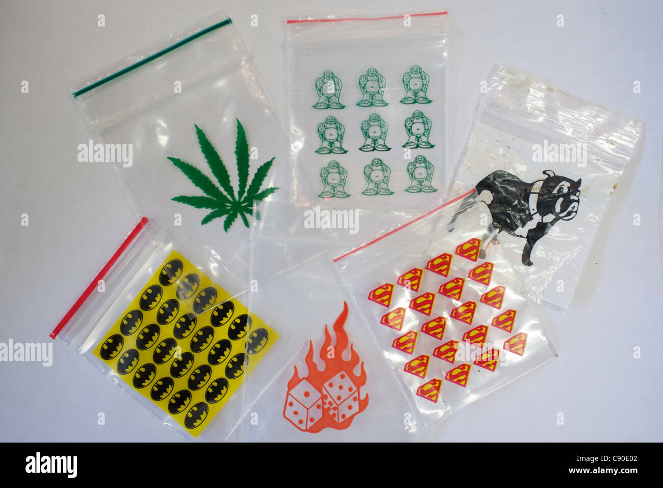 Illicit drugs paraphernalia in a secret academic research lab in London. - Stock Image