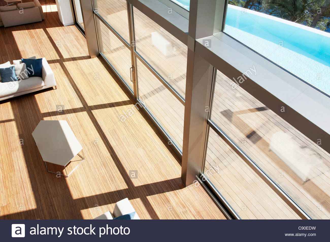 Windows in modern house - Stock Image