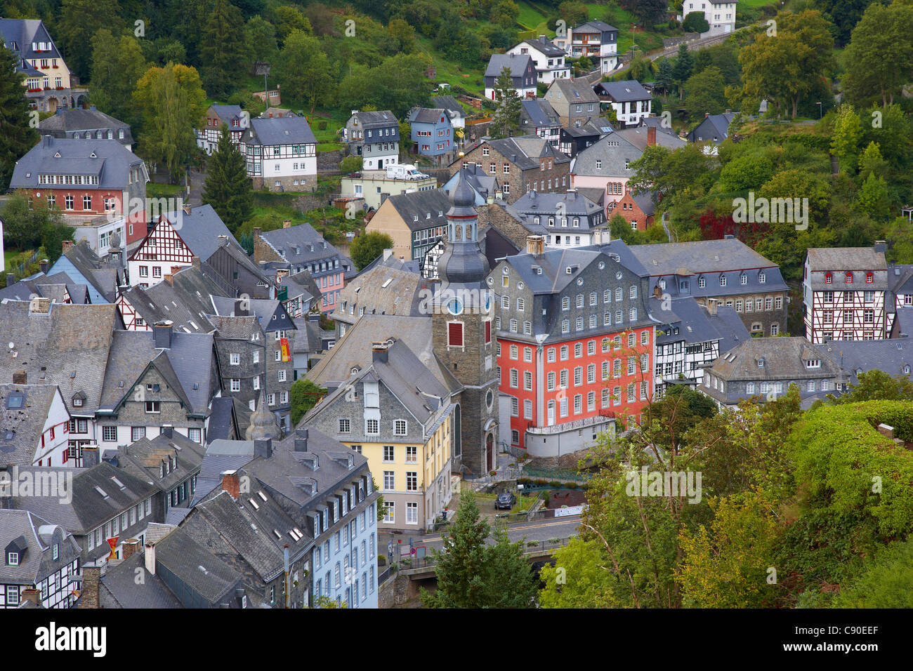 Viewl at Monschau with the Rotes Haus (1756-1765), Eifel, North Rhine-Westfalia, Germany, Europe - Stock Image