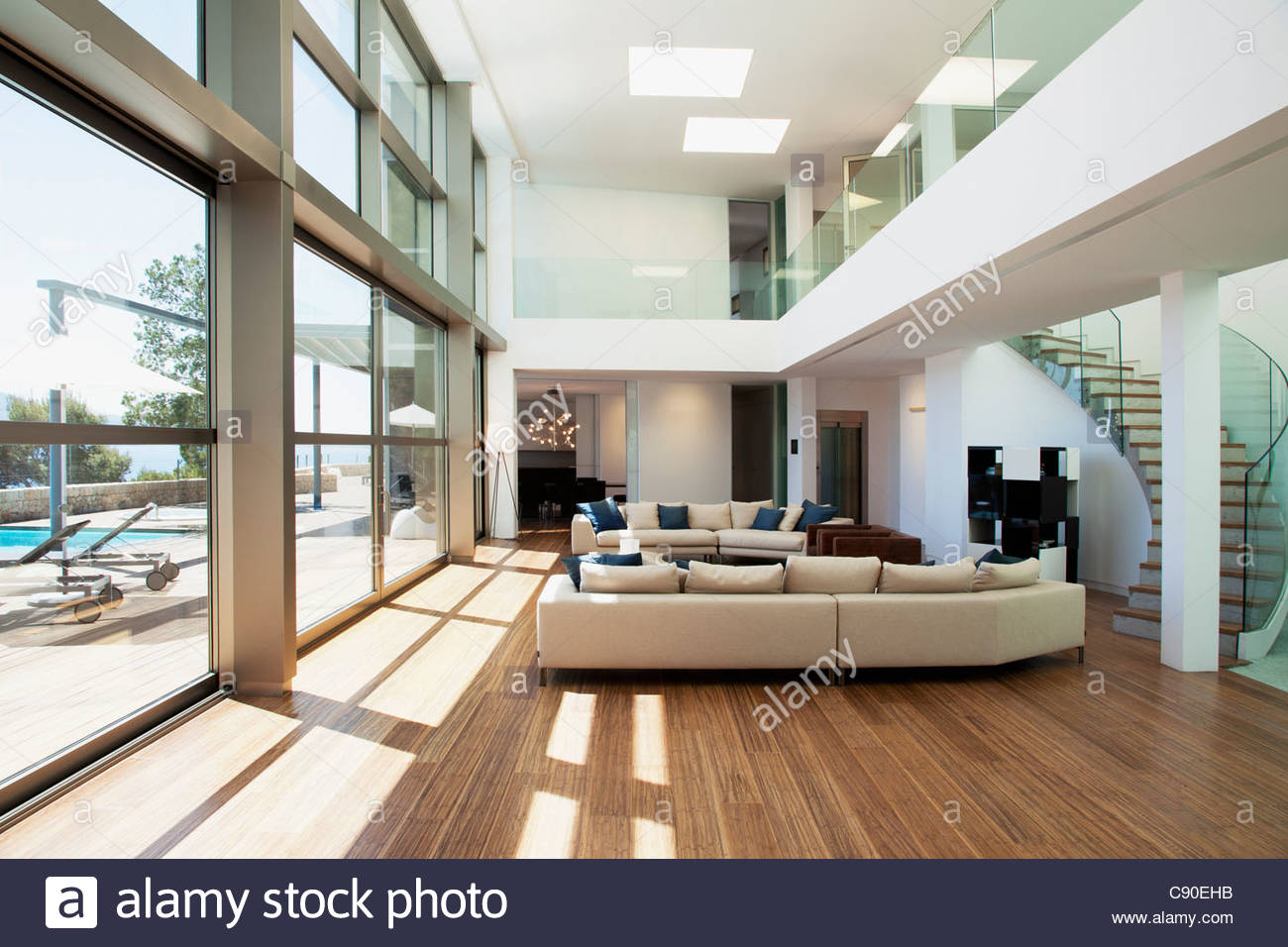 Open living space in modern house - Stock Image