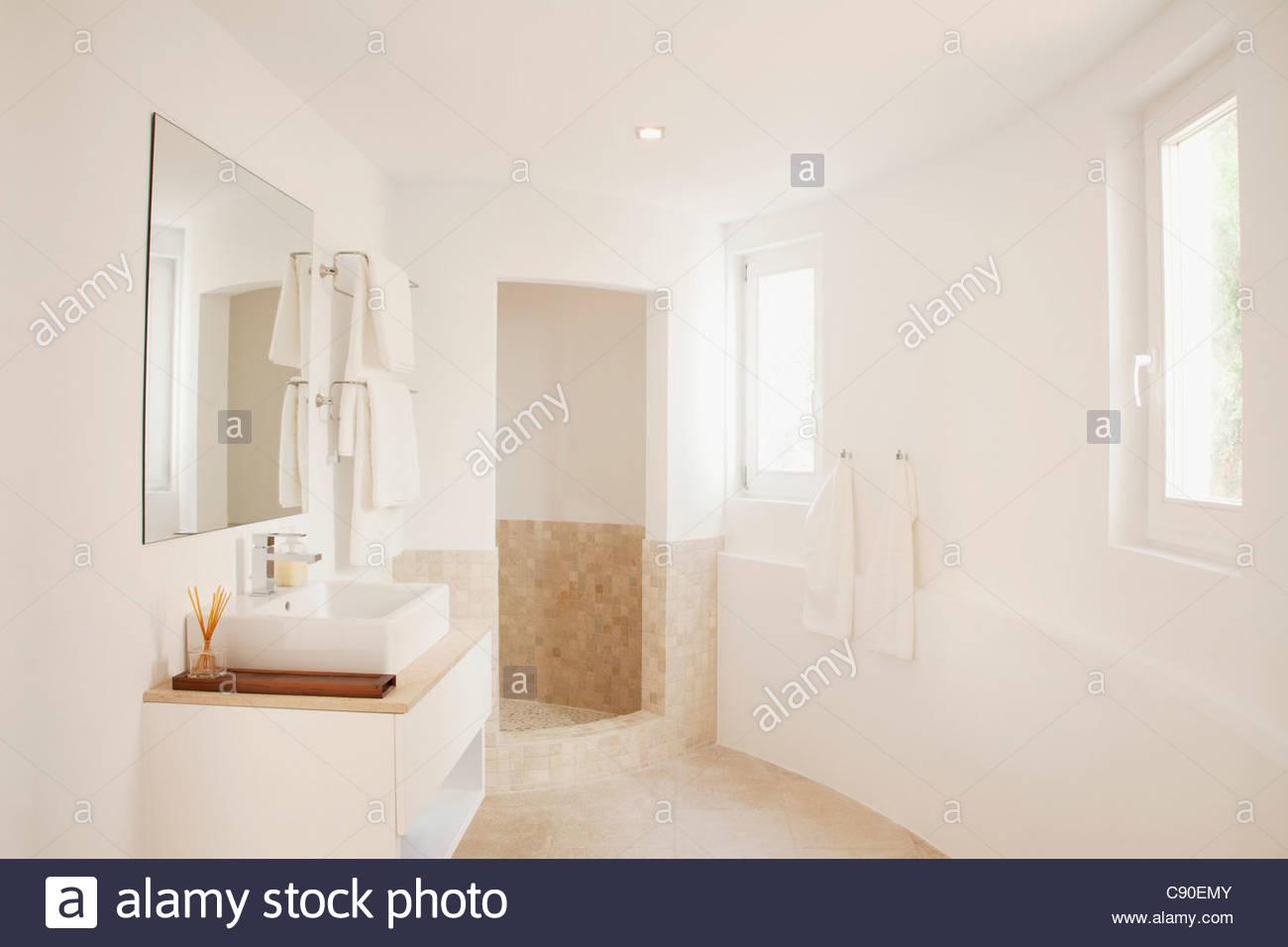 Sink in modern bathroom - Stock Image