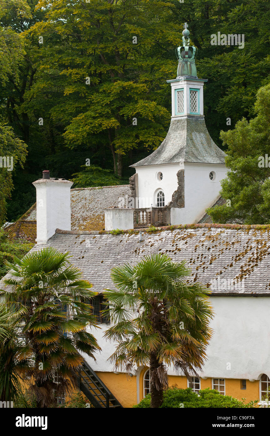 The village of Portmeirion, founded by Welsh architekt Sir Clough Williams-Ellis in 1926, Wales, UK - Stock Image