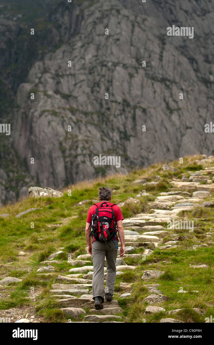 Ascent to Glyder Fawr, Snowdonia National Park, Wales, UK - Stock Image